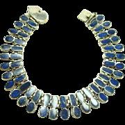 Vintage Inlaid Lapis Sterling Silver 950 Bracelet