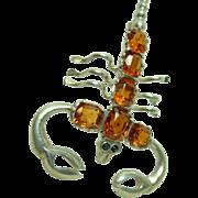 Deco Citrine 3 Inch Scorpion Brooch