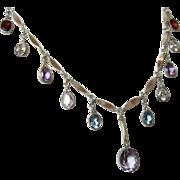 Vintage Multi Gemstone Dangle Necklace