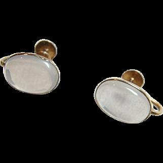 Fabulous 10kt Gold Large Moonstone Earrings