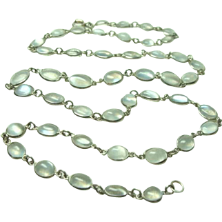 Vintage Continuous Strand Moonstone Necklace