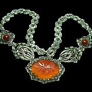 Beautiful Deco Carnelian Marcasite Necklace