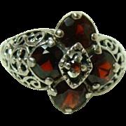 Vintage Sterling Garnet Ring