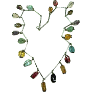 Beautiful Vintage Multi Gemstone Drop Necklace