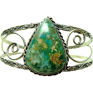 Vintage Hand Made Large Turquoise Bracelet