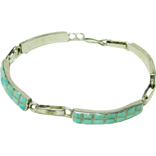 American Indian Inlaid Four Panel Turquoise Bracelet Vintage