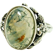 Arts and Crafts Moss Agate Ring