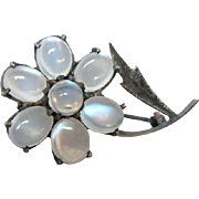 Nouveau Moonstone Flower Brooch