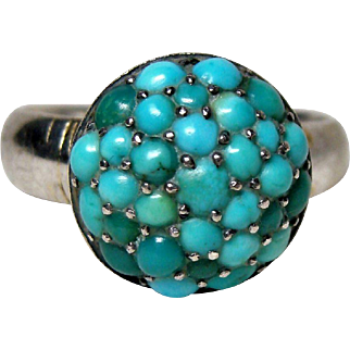 Antique Pave Turquoise Cluster Ring
