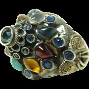 Vintage Princess 10kt Gold Multi Gemstone Ring