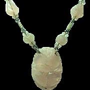 Vintage Carved Rose Quartz Necklace
