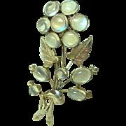 Fine Vintage Moonstone Flower Brooch