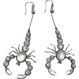 Deco Gold and Silver Moonstone Scorpion Earrings