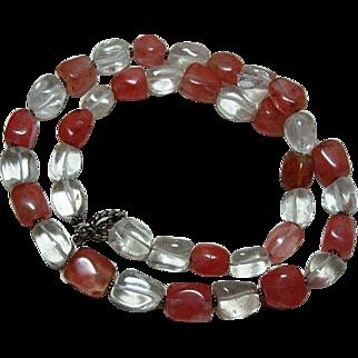 Vintage Rock Crystal and Pink Quartz Necklace