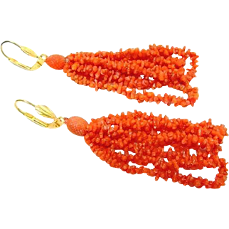 Antique Georgian Carved Coral Earrings