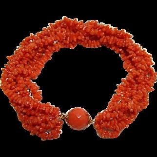 Antique Carved Georgian Coral Bracelet