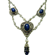 Antique Victorian Festoon Lapis Necklace