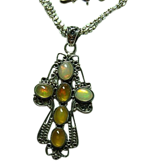 Vintage Mexican Opal Pendant Sterling Necklace