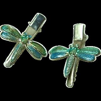 Vintage Whimsical Enamel Dragonfly Hair Clips