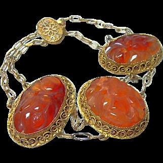 Vintage Carved Carnelian Chinese Bracelet