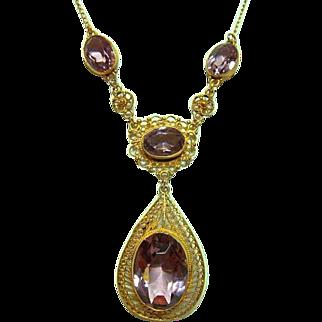 Vintage 10kt Gold Amethyst Festoon Necklace