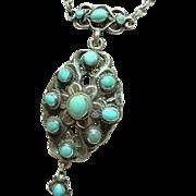 Antique Zoltan White Turquoise Pendant Necklace