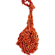 Antique Large Carved Coral Pendant Necklace