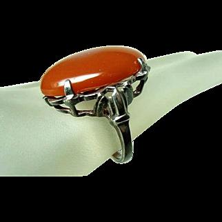 Vintage Large Carnelian Sterling Ring