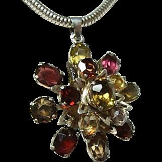 Beautiful Vintage Tourmalines Snowflake Pendant Necklace