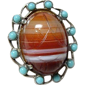 Vintage Striped Agate Scarab Ring