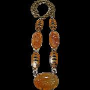 Vintage Carved Carnelian and Enamel Necklace