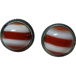Beautiful Vintage Red Banded Agate Earrings