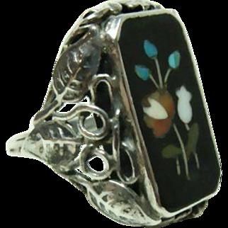 Vintage Floral Pietra Dura Ring