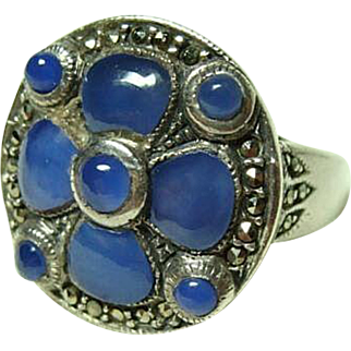 Large Chalcedony and Marcasite Ring