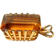 SALE PENDING   Large 14kt Gold Citrine Pendant