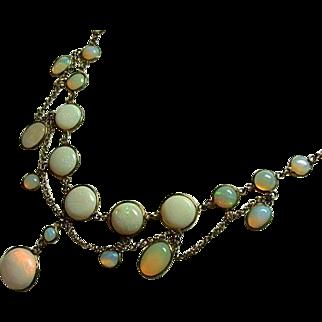 Antique Opal Festoon Dangle Necklace