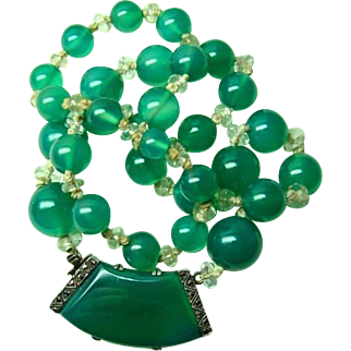Fine Translucent Deco Chrysoprase Necklace