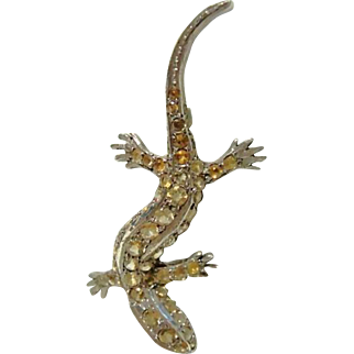 Edwardian Citrine Lizard Brooch