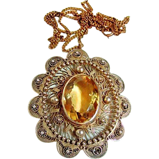 Antique Huge Citrine Pendant Necklace