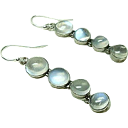 Vintage Deco Moonstone Earrings