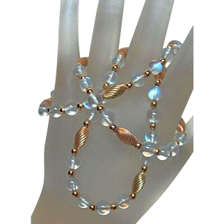 Deco Moonstone and Gold Bead Necklace
