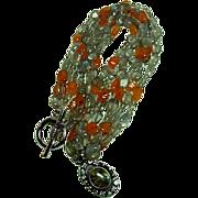 Vintage Carved Labradorite and Carnelian Bead Necklace