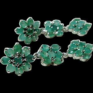 Estate Emerald Sterling Earrings