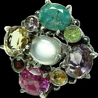 Large Vintage Multi Stone Ring