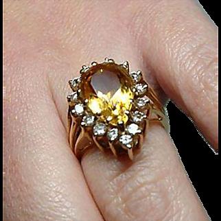 Vintage Estate Diamond and Citrine 14kt Gold Ring