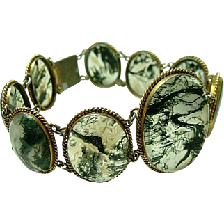 Rare Translucent Antique Moss Agate Bracelet