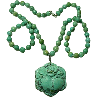 Vintage Carved Chinese Turquoise Necklace