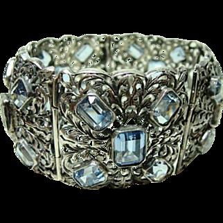Exquisite Vintage Italian Silver and Topaz Bracelet