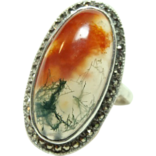 Deco Moss Agate Ring