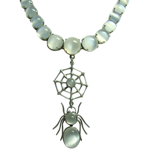 Rare deco cats eye moonstone spider necklace from rubylane for Cat s eye moonstone jewelry